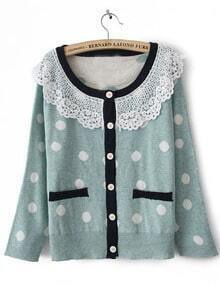 Blue Long Sleeve Lace Lapel Pockets Cardigan Sweater