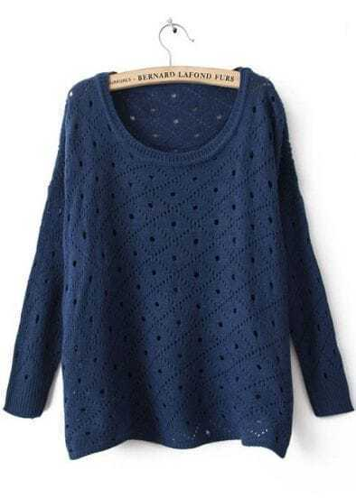 Navy Round Neck Long Sleeve Hollow Diaper Sweater