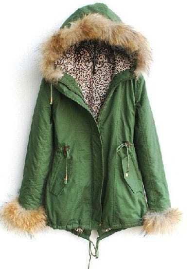 Green Fur Hooded Long Sleeve Leopard Drawstring Coat