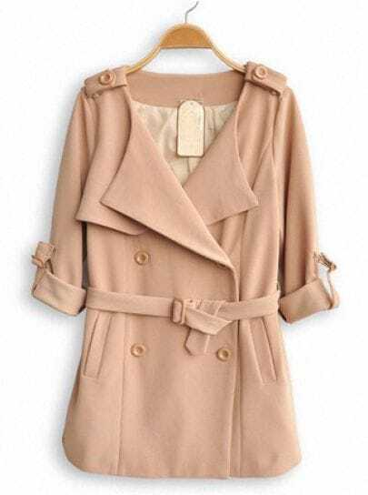 Yellow Lapel Long Sleeve Drawstring Waist Trench Coat