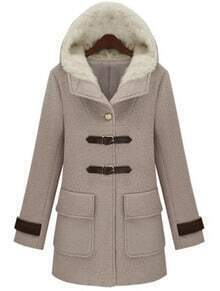 Grey Hooded Long Sleeve Buckle Strap Pockets Coat