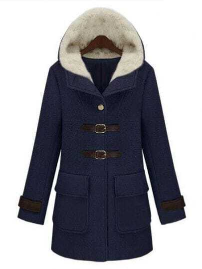 Navy Hooded Long Sleeve Buckle Strap Pockets Coat