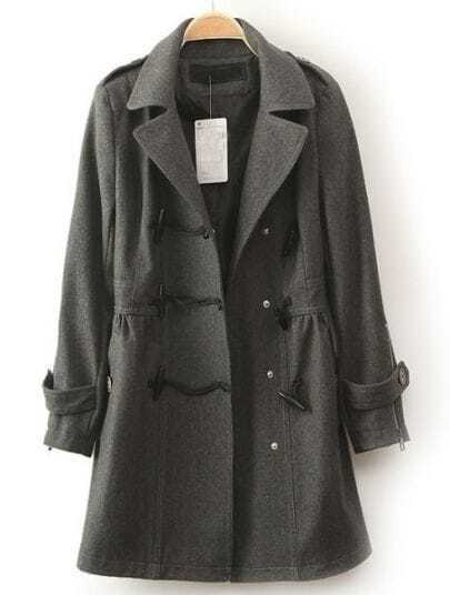 Grey Lapel Long Sleeve Horn Button Pockets Coat