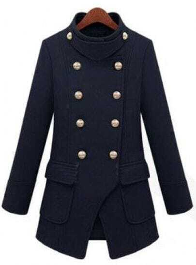 Navy High Neck Long Sleeve Double Breasted Pockets Coat