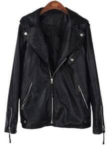 Black Long Sleeve Zipper Pockets PU Leather Jacket