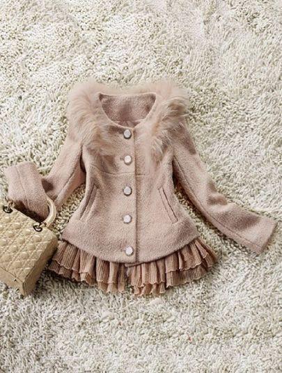 Pink Long Sleeve Ruffles Fur Embellished Coat