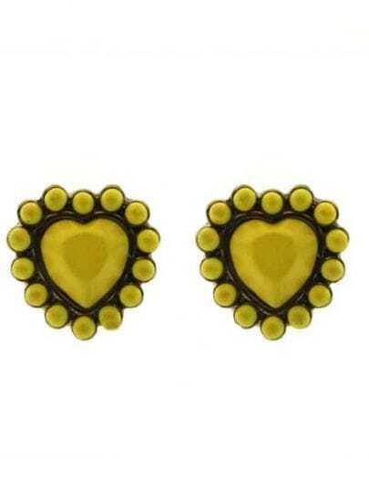 Yellow Heart Gold Stud Earrings