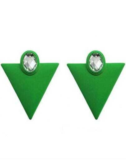 White Crystal Green Triangle Stud Earrings