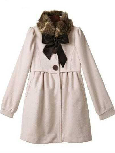 Pink Fur High Neck Long Sleeve Bow Embellished Coat
