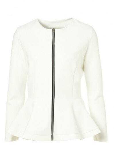 White Long Sleeve Zipper Peplum Coat