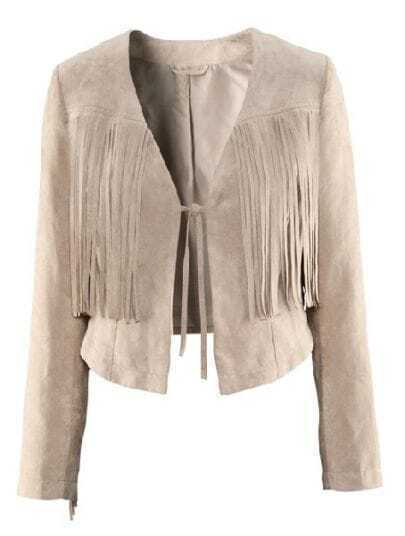 Beige Long Sleeve Tassel Bow Crop PU Coat