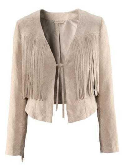 Beige Long Sleeve Tassel Bow Crop PU Coat