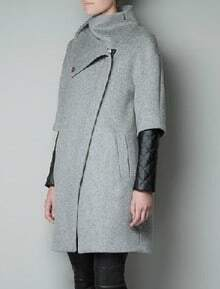 Light Grey High Neck Zipper Asymmetrical Trench Coat