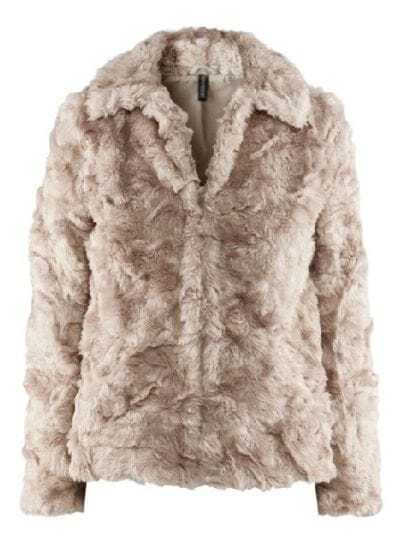 Beige Lapel Long Sleeve Covered Button Fur Coat