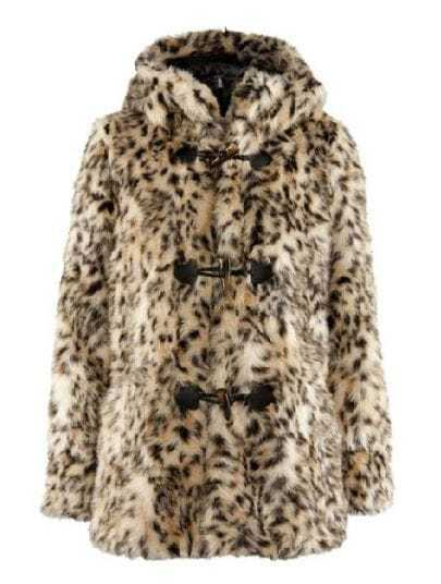 Leopard Hooded Long Sleeve Rod Button Fur Coat