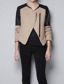 Beige Contrast PU Leather Long Sleeve Zipper Coat