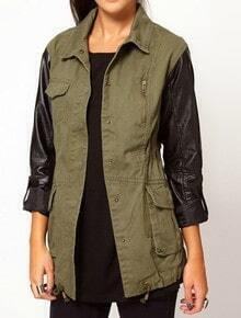 Green Contrast PU Leather Long Sleeve Drawstring Trench Coat