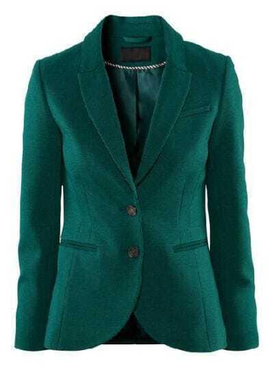 Green Notch Lapel Long Sleeve Split Suit