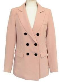 Pink Notch Lapel Long Sleeve Pockets Suit