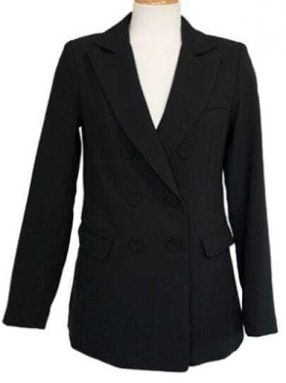 Black Notch Lapel Long Sleeve Pockets Suit