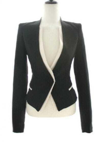 Black Long Sleeve Contrast Trims Single Button Suit