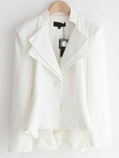 White Notch Lapel Long Sleeve Ruffles Suit