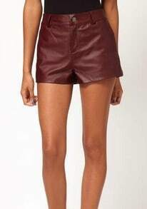 Wine Red High Waist Button Fly PU Leather Shorts