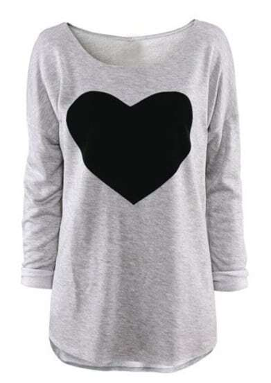 Light Grey Round Neck Long Sleeve Heart Print T-Shirt