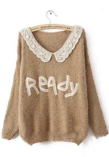 Khaki Long Sleeve Lace Ready Print Mohair Sweater