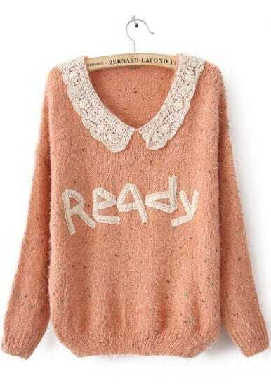 Pink Long Sleeve Lace Ready Print Mohair Sweater