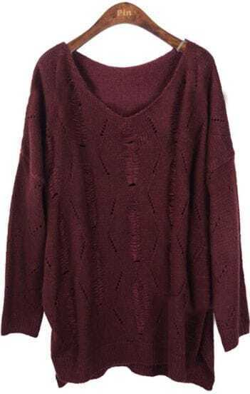 Red Batwing Long Sleeve Hollow Loose Sweater