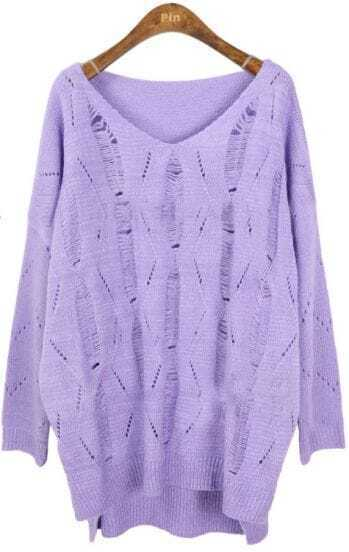 Purple Batwing Long Sleeve Hollow Loose Sweater