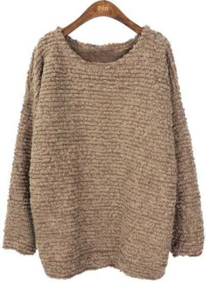 Khaki Batwing Long Sleeve Loose Pullovers Sweater