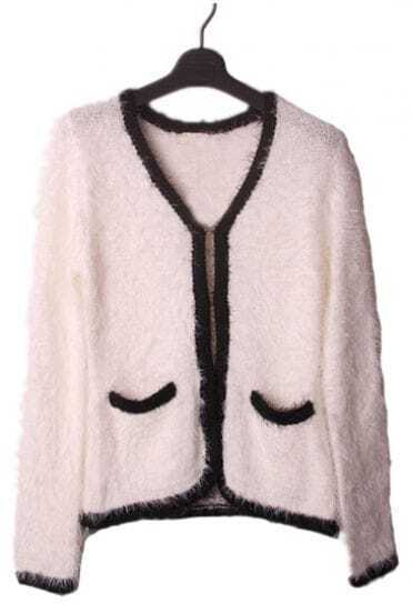 White Long Sleeve Fluffy Contrast Black Trims Pocket Cardigan