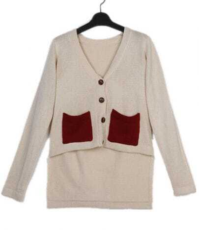 Apricot V-neck Dipped Hem Red Pockets Knitted Cardigan