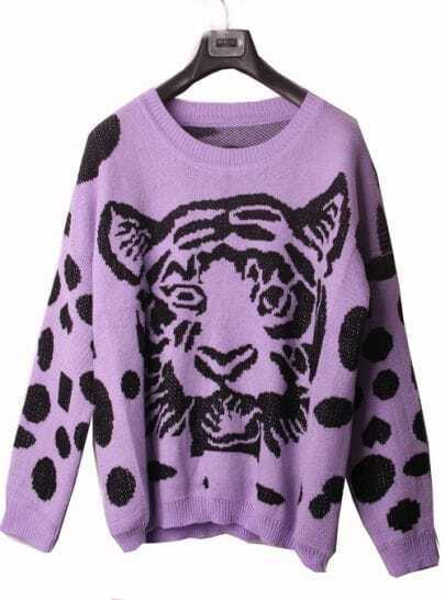 Purple Tiger Print Oversized Knitted Sweater