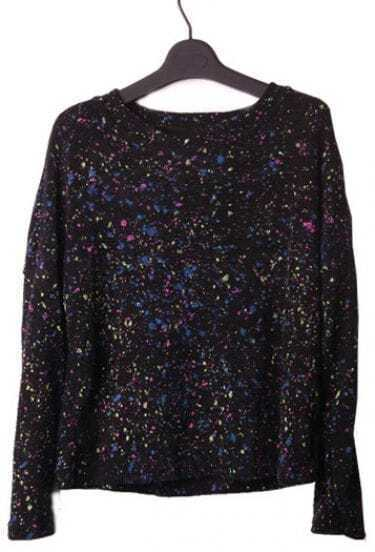 Black Long Sleeve with Multi-color Paint Fleck Jumper