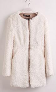 Ivory Round Neck Long Sleeve Zipper Fur Coat