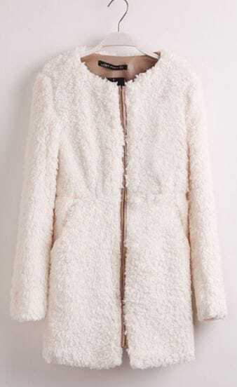 Ivory Round Neck Long Sleeve Zipper Fur Coat