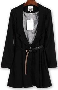 Black Long Sleeve Rhinestone Embroidery Trench Coat