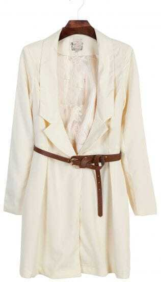 Apricot Long Sleeve Rhinestone Embroidery Trench Coat