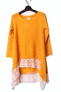 Yellow High Low Contrast Lace Hem Studded Jumper