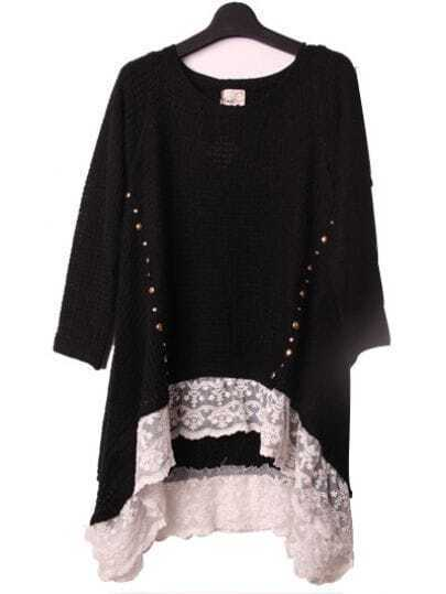 Black High Low Contrast Lace Hem Studded Jumper