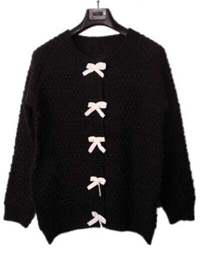 Black Bowknot Front Chunky Textured Knit Sweater