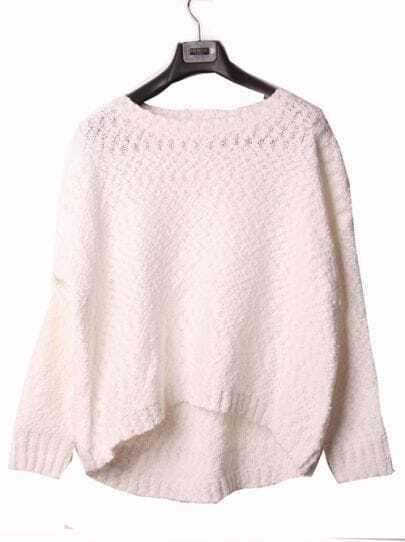 All White Batwing Sleeve Oversized Pullover Sweater