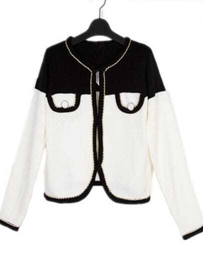 White Contrast Black Pocket and Trims Knitted Cardigan