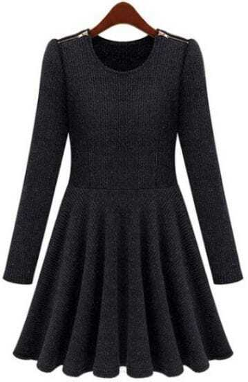 Black Long Sleeve Zipper Embellished Pleated Dress