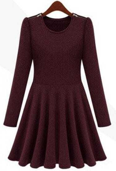 Wine Red Long Sleeve Zipper Embellished Pleated Dress