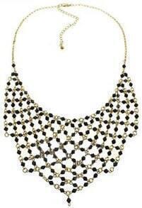 Black Gemstone Gold Chain Net Necklace