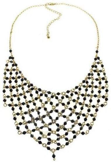 Black Gemstone Gold Chain Net Necklace